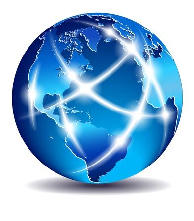 Mondial sur la communication, au commerce mondial - du Nord Amérique du Sud et l'Europe - EPS 10