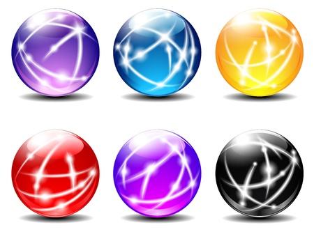 Spheres, Balls, Technology, Communication lines 일러스트