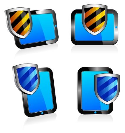 Shield antivirus Tablet 3D and 2D - firewall digital shield concept Vector