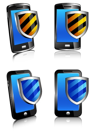 Phone shield antivirus 3D and 2D - firewall digital shield concept Stock Vector - 13443180