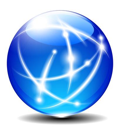 球、通信回線とボールの図  イラスト・ベクター素材