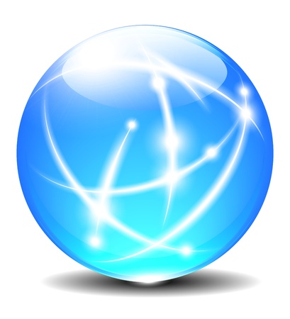 ボール: 透明色の付いたボール通信インターネット グローブ