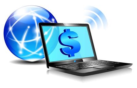 Services bancaires en ligne Pay notion de paiement par Internet avec des symboles de l'argent pour le dollar