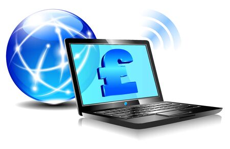 Banking online Pay internet payment concept with money symbols for British Pound Vector