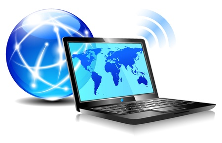 Laptop internet surfing - Browsing the world wide web from a laptop - internet connection Stock Vector - 14247355