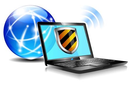 インターネット保護シールド ウイルス対策ラップトップ ファイアウォール  イラスト・ベクター素材