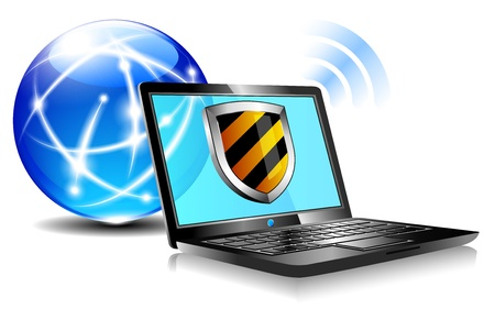 Internet Protection Shield antivirus laptop firewall Vector
