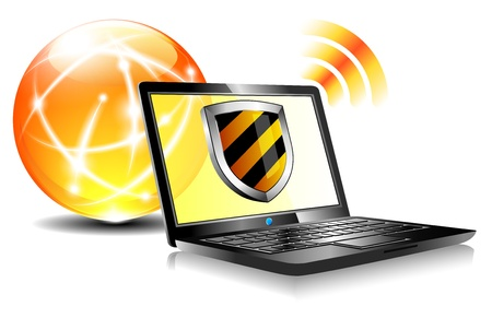 インターネット保護ウイルス対策ラップトップをシールドします。  イラスト・ベクター素材
