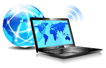 Laptop internet surfing, browsing the world wide web Vector