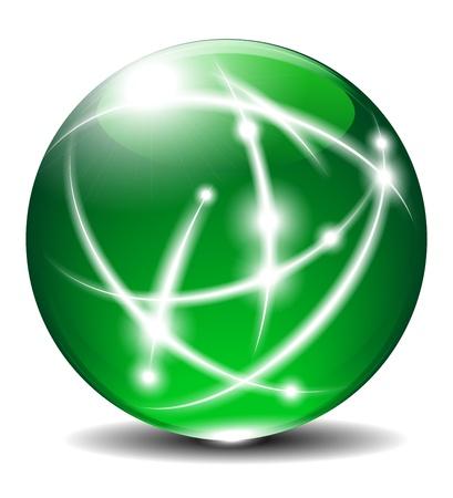 cable de red: Esfera Verde, Bola, con las l�neas de comunicaci�n Vectores