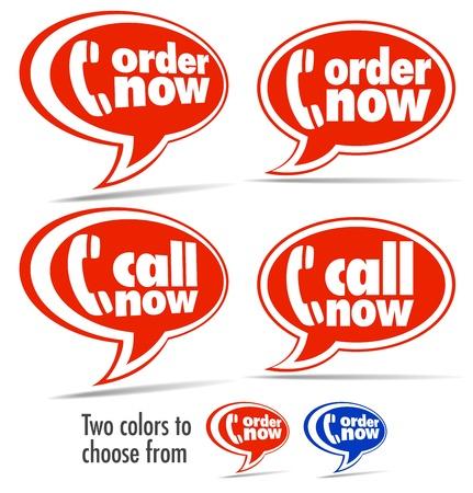 携帯電話、今すぐお電話、今スピーチの泡を注文  イラスト・ベクター素材