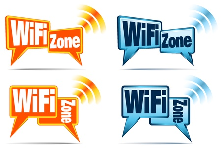 WiFi Zone Icons - Speech bubbles with signal for WiFi Connection 일러스트