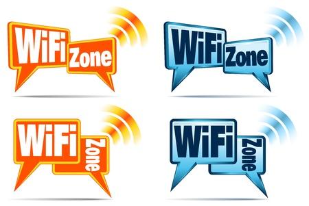 wireless network: WiFi Zone - Iconos de las burbujas del discurso con se�al para la conexi�n WiFi