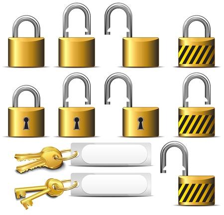 to lock: Lucchetto e chiave - Una serie di lucchetti e chiavi in ??ottone Vettoriali