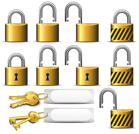 Padlock and Key - A set of Padlocks and Keys in Brass Vector