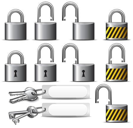to lock: Candado y llave - Un conjunto de candados y llaves de acero Vectores