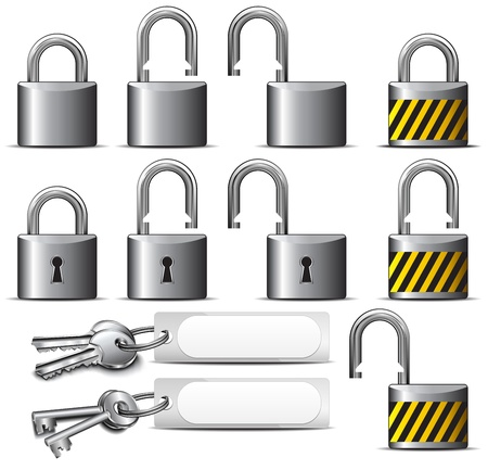 to lock: Lucchetto e chiave - Una serie di lucchetti e chiavi in ??Acciaio Vettoriali