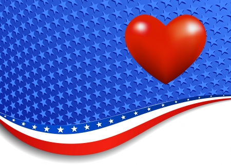 Stars & Stripes with Heart Landscape Vector