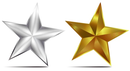 Silver and Gold Stars Vector
