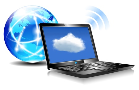 Laptop Cloud Connection wifi digital Vector