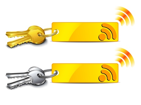 Internet connection key - Connection key with internet signal icon Stock Vector - 15023094
