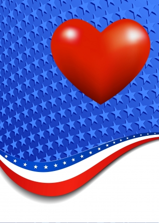 Stars and Stripes with Heart Portrait Vector