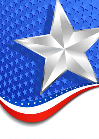 Stars and Stripes with Silver Star Portrait Vector