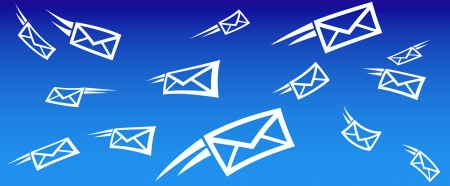 send email: email background concept with flying mail Illustration