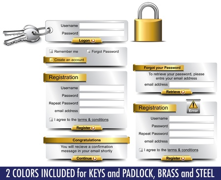 Login Password Registration web elements Vector