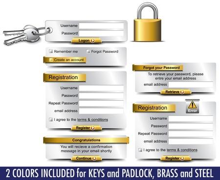 Login Password Registration web elements