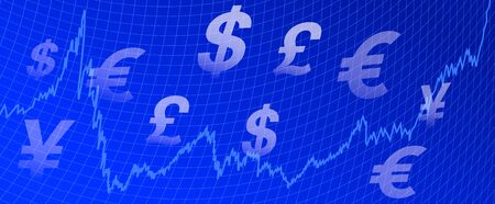 Stock Market Graph with currency symbols - background Vector
