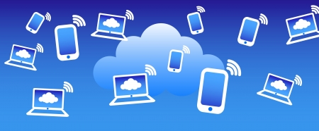 web browsing: Phone computers communicating with the cloud concept background