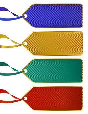 Set of Rich luxury color labels, tags with gold boarders Vector