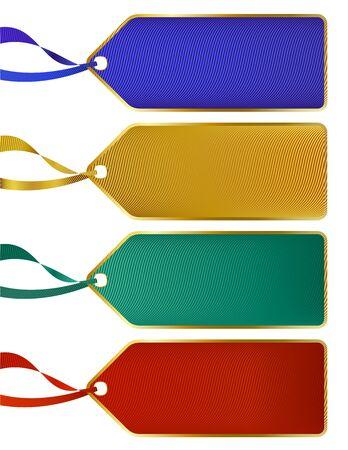 Set van Rich Luxury kleur labels, tags met goud boarders Vector Illustratie