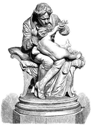 線彫り、1879 - で作成された彫刻博士の Jenner の Inoculating、1878 年のパリ展覧会から彼の息子、ローマの教授モンテベルデの彫刻の後  イラスト・ベクター素材