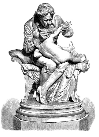Line Engraving, Created in 1879 - Sculpture from the Paris Exhibition of 1878, Dr Jenner Inoculating his son, after Sculpture by Professore Monteverde of Rome
