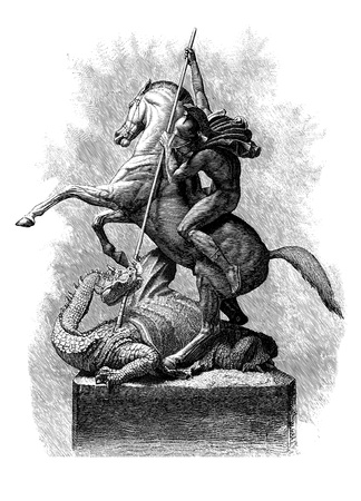 knight horse: St George and the Dragon, Line Engraving, Created in 1879, after the Sculpture by J  E  Boehm A R A