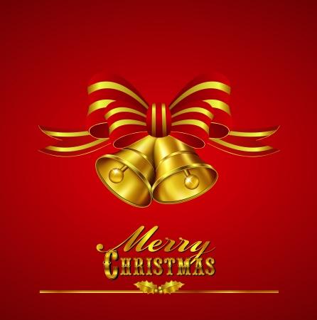 christmas berries: Ornato Merry Christmas Card con Bells