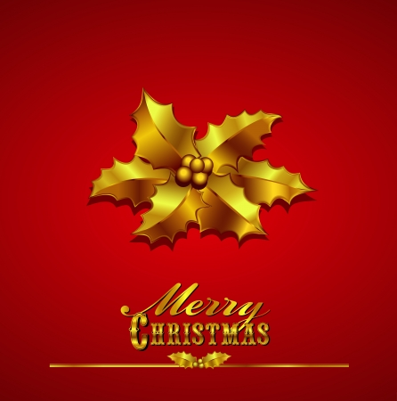 Merry Christmas Card Gold Holly on a Red Background with hand drawn typefaces Vector