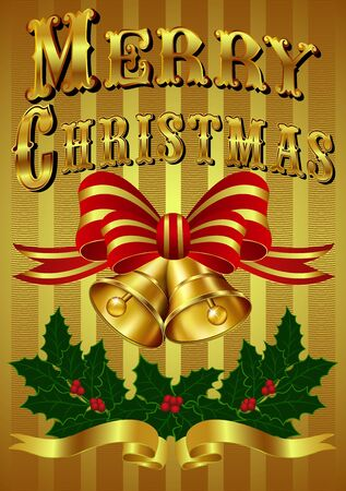 Vintage Gold Christmas Card with hand drawn lettering Stock Vector - 16169505