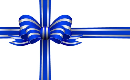 knotted: Blue and Silver Bow on a white background isolated