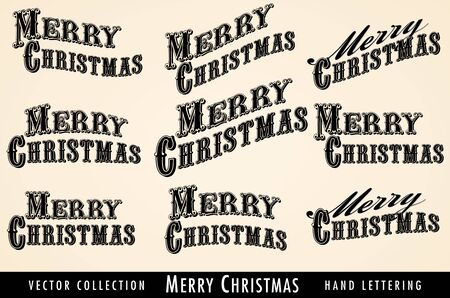victorian christmas: Selection of Vintage Merry Christmas lettering