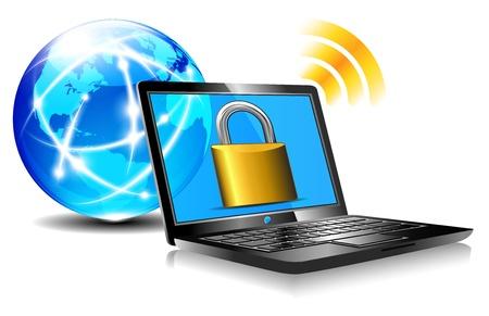 laptop screen: Candado en la protecci�n de la pantalla del port�til a Internet Laptop surf Vectores