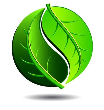 Concepto verde del logotipo utilizando Yin Yang símbolo en un diseño de la hoja Logos