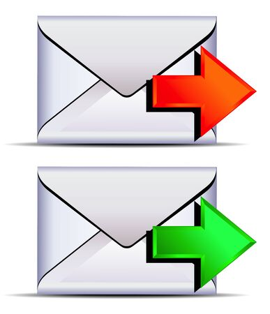sent: Contact email send icon - email sent with red and green arrows