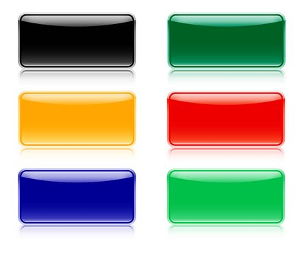 navigation buttons: Web elements for navigation with shadow, six color set Illustration
