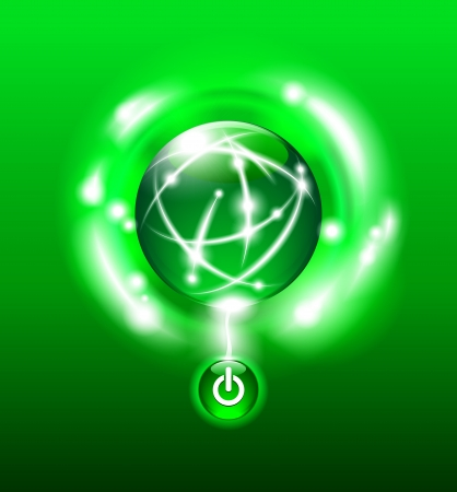 Push the Button for Green Energy Globe design against dark background with Start On Button Vector