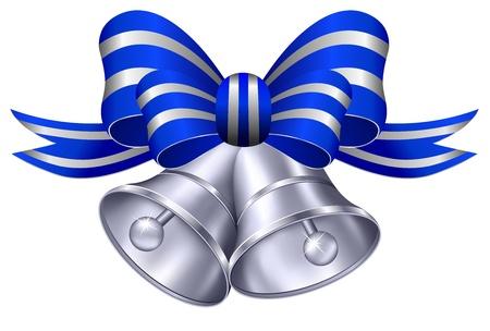 campanas: Ornate Silver Bells boda con la cinta azul y plata