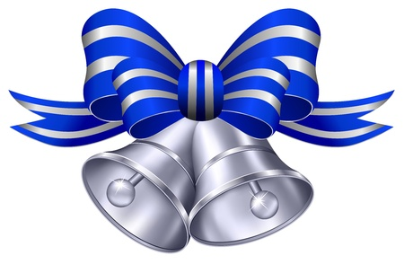 bell: Ornate Silver Wedding Bells with Blue and Silver Ribbon Illustration