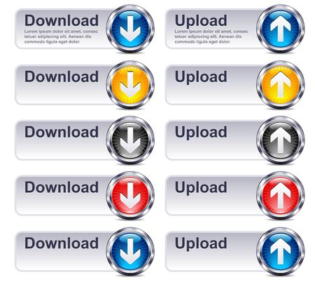 Upload Download Files - Internet button Gel Icon Stock Vector - 17198795